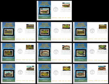 3510 - 3519 / 34c Legendary Major League Baseball Playing Fields Set of 10  New York, NY Postmark 2001 Fleetwood FDCs