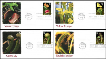 3528 - 3531 / 34c Carnivorous Plants Set of 4 Fleetwood 2001 First Day Covers
