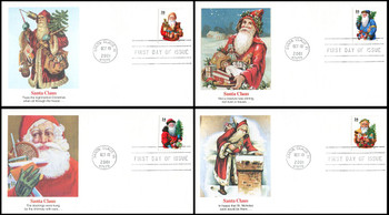 3537 - 3540 / 34c Holiday Santas PSA : Christmas Series Set of 4 Fleetwood 2001 First Day Covers
