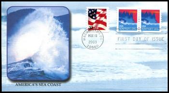 3775 / Non-Denominated (5c) Sea Coast PSA Coil Pair 2003 Fleetwood FDC