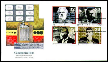 3064a / 32c Pioneers of Communication Se-Tenant Block of 4 Fleetwood 1996 FDC