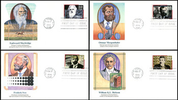 3061 - 3064 / 32c Pioneers of Communication Set of 4 Fleetwood 1996 FDCs