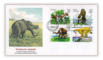 3080a / 32c Prehistoric Animals Se-Tenant Block of 4 Fleetwood 1996 First Day Cover