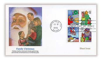 3111a / 32c Christmas Family Scenes Sheet Issue : Christmas Series 1996 Se-tenant Block of 4 Fleetwood First Day Cover