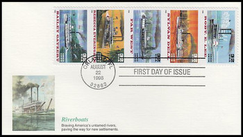 3095a / 32c Riverboats Se-Tenant Strip of 5 Fleetwood 1996 First Day Covers