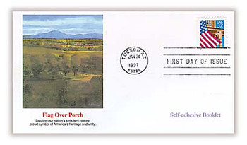 2921b / 32c Flag Over Porch Booklet Single 1997 Fleetwood FDC