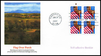 2921b / 32c Flag Over Porch Booklet Pane of 4 Fleetwood 1997 FDC
