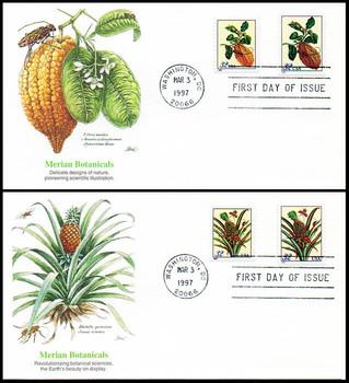 3126 - 3129 / 32c Merian Botanical Prints Booklet Single Combo Set of 2 Fleetwood 1997 FDCs