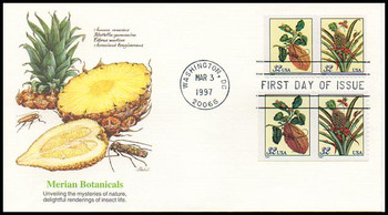3126 - 3129 / 32c Merian Botanical Prints Booklet Singles Attached Pairs 1997 Fleetwood FDC