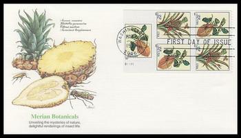 3128b / 32c Merian Botanical Prints Booklet Plate Block Pane of 5 Fleetwood 1997 FDC