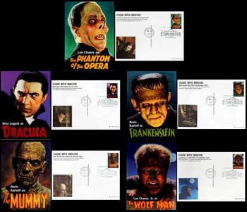 UX285 - UX289 / 20c Classic Movie Monsters Set of 5 Fleetwood 1997 Postal Card FDCs