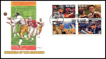 3146a / 32c Legendary Football Coaches : Canton, OH Hall of Fame Postmark Block of 4 Fleetwood 1997 FDCs