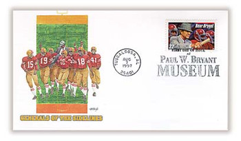 "3148 / 32c Paul ""Bear"" Bryant : Legendary Football Coach : Tuscaloosa, AL Postmark Fleetwood 1997 FDC"
