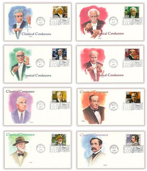 3158 - 3165 / 32c Classical Composers and Conductors : American Music Series Set of 8 Fleetwood 1997 First Day Covers