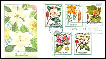 3197a / 32c Flowering Trees Strip of 5 Fleetwood 1998 First Day Cover