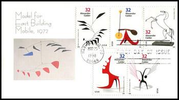 3202a / 32c Alexander Calder : Sculptor Strip of 3 and 2 Fleetwood 1998 FDC