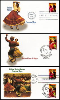 3203 & 2066 / 32c & $3.20 Pesos Cinco de Mayo Celebration Joint Issue Set of 3 Fleetwood 1998 First Day Cover
