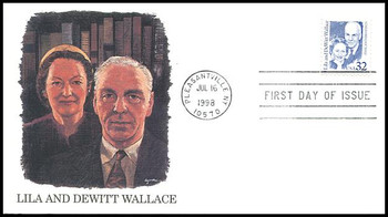 2936 / 32c Lila and DeWitt Wallace - Reader's Digest - Philanthropists : Great Americans Series Fleetwood 1998 FDC