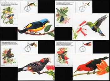 UX293 - UX296 / 20c Tropical Birds Set of 4 Fleetwood 1998 Postal Cards FDCs