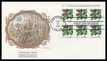 3177a / 32c American Holly :  Christmas Series Booklet Plate Block Top Pane of 6 Fleetwood 1997 FDC