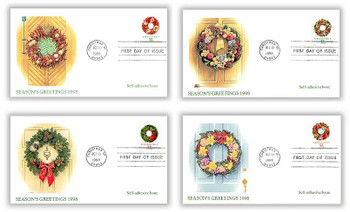 3249 - 3252 / 32c Greetings Holiday Wreaths PSA Sheet Issue Set of 4 Christmas Series 1998 Fleetwood FDCs