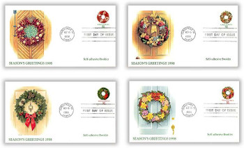 3249a - 3252a / 32c Greetings Holiday Wreaths PSA Booklet Issue Set of 4 Christmas Series 1998 Fleetwood FDCs