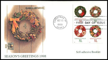 3252b / 32c Greetings Holiday Wreaths PSA Booklet Issue Se-Tenant Block of 4 Christmas Series 1998 Fleetwood FDC