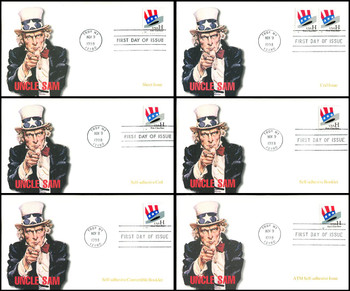 3260 - 3269 / H - Rate 33c Uncle Sam's Hat Set of 6 Fleetwood 1998 First Day Covers