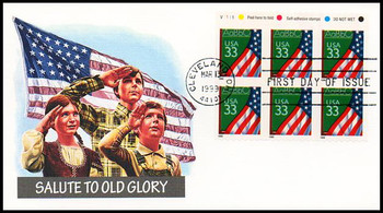3283a / 33c U.S. Flag over Chalkboard PSA ATM Booklet Plate Block Pane of 6 Fleetwood 1999 First Day Cover
