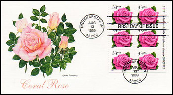 3052a / 33c Pink Coral Rose Booklet Plate Block Pane of 6 Fleetwood 1999 First Day Cover