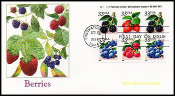 3297b / 33c Fruit Berries PSA Booklet Plate Block Pane of 6 Fleetwood 1999 FDC