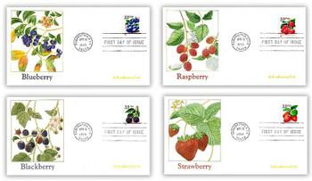 3302 - 3305 / 33c Fruit Berries PSA Coil Set of 4 Fleetwood 1999 FDCs