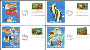 3317 - 3320 / 33c Aquarium Fish Set of 4 Fleetwood 1999 FDCs