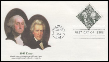 2592 / $5 1869 Essay : Washington and Jackson Fleetwood 1994 FDC