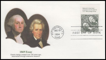 2592 / $5 1869 Essay : Washington and Jackson with Tab Fleetwood 1994 FDC