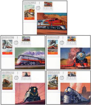 UX307 - UX311 / 20c All Aboard Twentieth Century Trains Set of 5 Fleetwood 1999 FDC Postal Cards