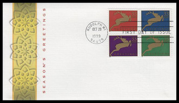 3359a / 33c Holiday Deer PSA Se-Tenant Block of 4 Fleetwood 1999 FDC