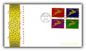 3363a / 33c Holiday Deer PSA Booklet Se-Tenant Block of 4 Fleetwood 1999 FDC