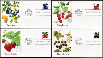 3294a - 3297a / 33c Fruit Berries PSA Booklet Set of 4 Fleetwood 2000 FDCs