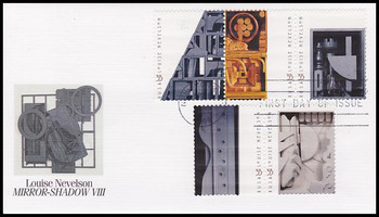 3383a / 33c Louise Nevelson : Sculptor Strip of 3 and 2 Fleetwood 2000 FDC