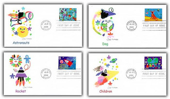 3414 - 3417 / 33c Stampin' The Future : Children's Stamp Design Contest Winners Set of 4 Fleetwood 2000 FDCs