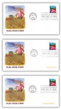 3448 - 3450 / 34c Flag Over Farm Set of 3 Fleetwood 2000 FDC