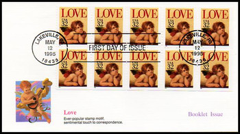 2959a / 32c Love - Cherub Booklet Pane of 10 : Love Series 1995 Fleetwood FDC