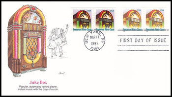 2911 - 2912 / 25c Non-Denominated Juke Box Coil Pairs Combination 1995 Fleetwood FDC