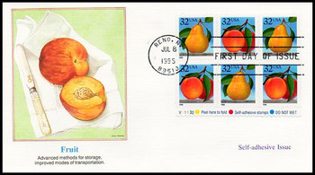 2494a / 32c Peach & Pear Self-Adhesive Pane of 6 Variation #2 Fleetwood 1995 FDC