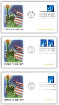 3451 -  3453 / Non-Denominated 34c Statue of Liberty Set of 3 Fleetwood 2000 FDCs