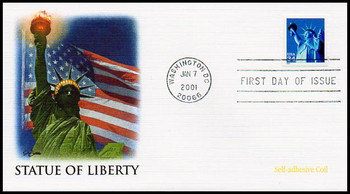3466 / 34c Statue of Liberty Self-Adhesive Coil Single 2001 Fleetwood FDC