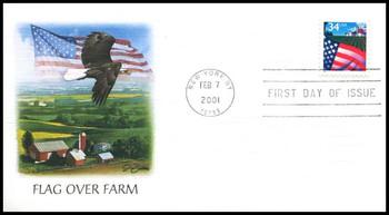 3469 / 34c Flag Over Farm Sheet Issue 2001 Fleetwood FDC