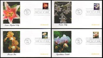 3478 - 3481 / 34c Flowers Self-adhesive Coil Set of 4 Fleetwood 2001 FDCs