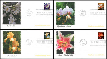 3487 - 3490  / 34c Flowers Self-Adhesive Convertible Booklet Set of 4 Fleetwood 2001 FDCs